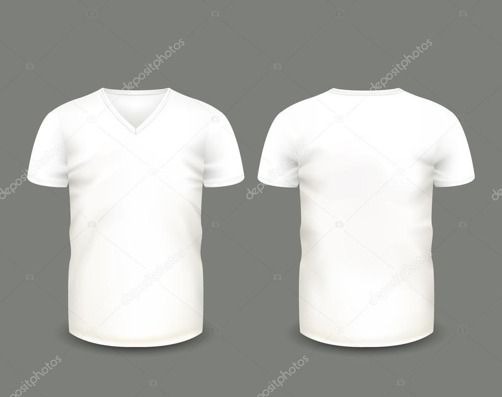 Mens weiß kurzarm T-shirt mit V-Ausschnitt vorne und hinten ...
