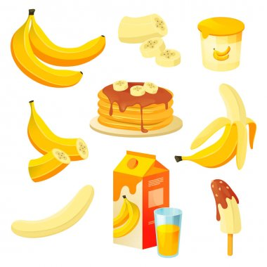 Banana food and fruit product desserts, juice and cake, vector flat design. Banana fruit food pastry, ice cream sweet and jam, natural organic fruit pancakes and snacks in product packages icon