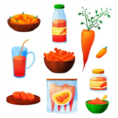 Carrot food and vegetable products, juice drink and eating ingredients, vector flat design. Organic fresh natural baby carrots for soup or salad, marinated preserves and vegetables for cooking icon