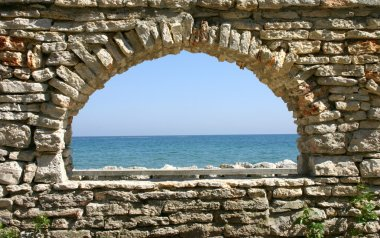 stone window overlooking the sea