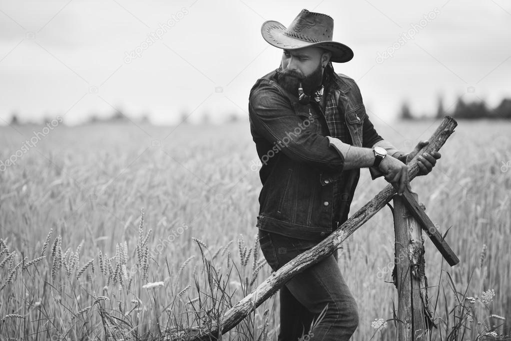 Bearded man in field