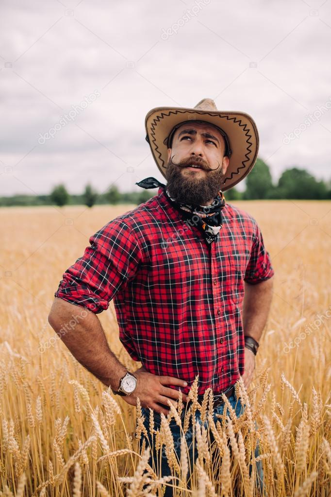 Bearded man in field