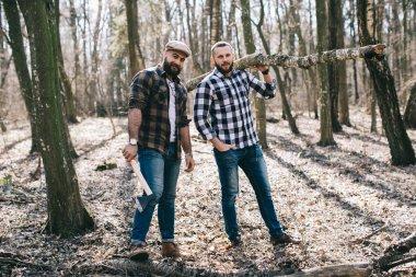 bearded men in forest