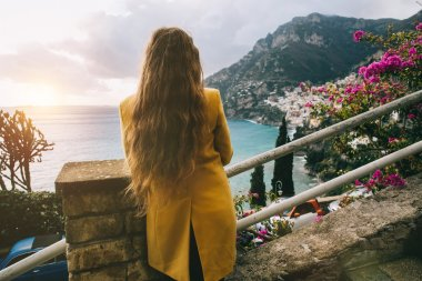 woman looking at town of Positano