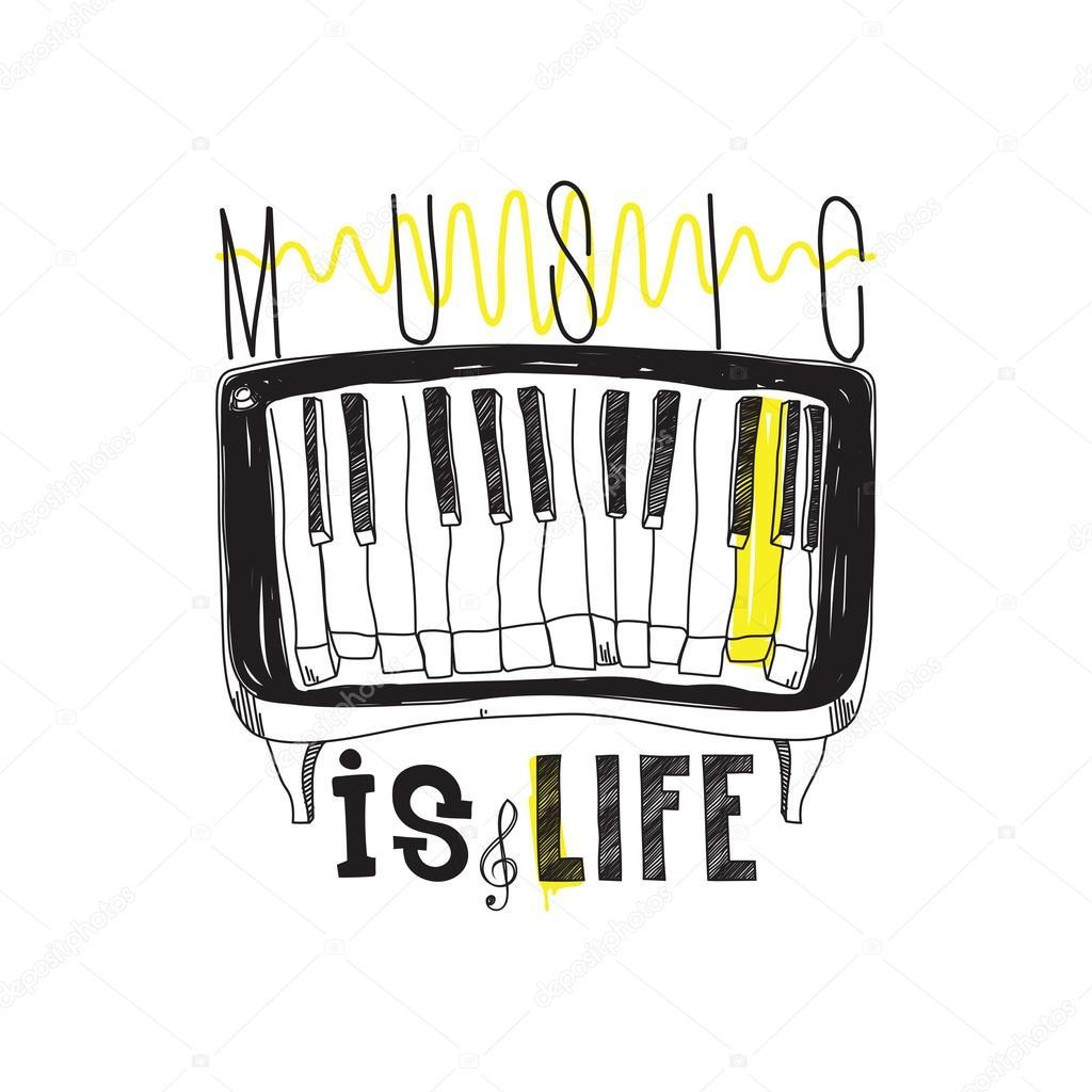 La Música Es Vida Cartel Simple Inspiracional Con Piano