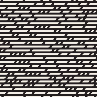 Vector Seamless Black And White Dashed Horizontal Lines Geometric Pattern