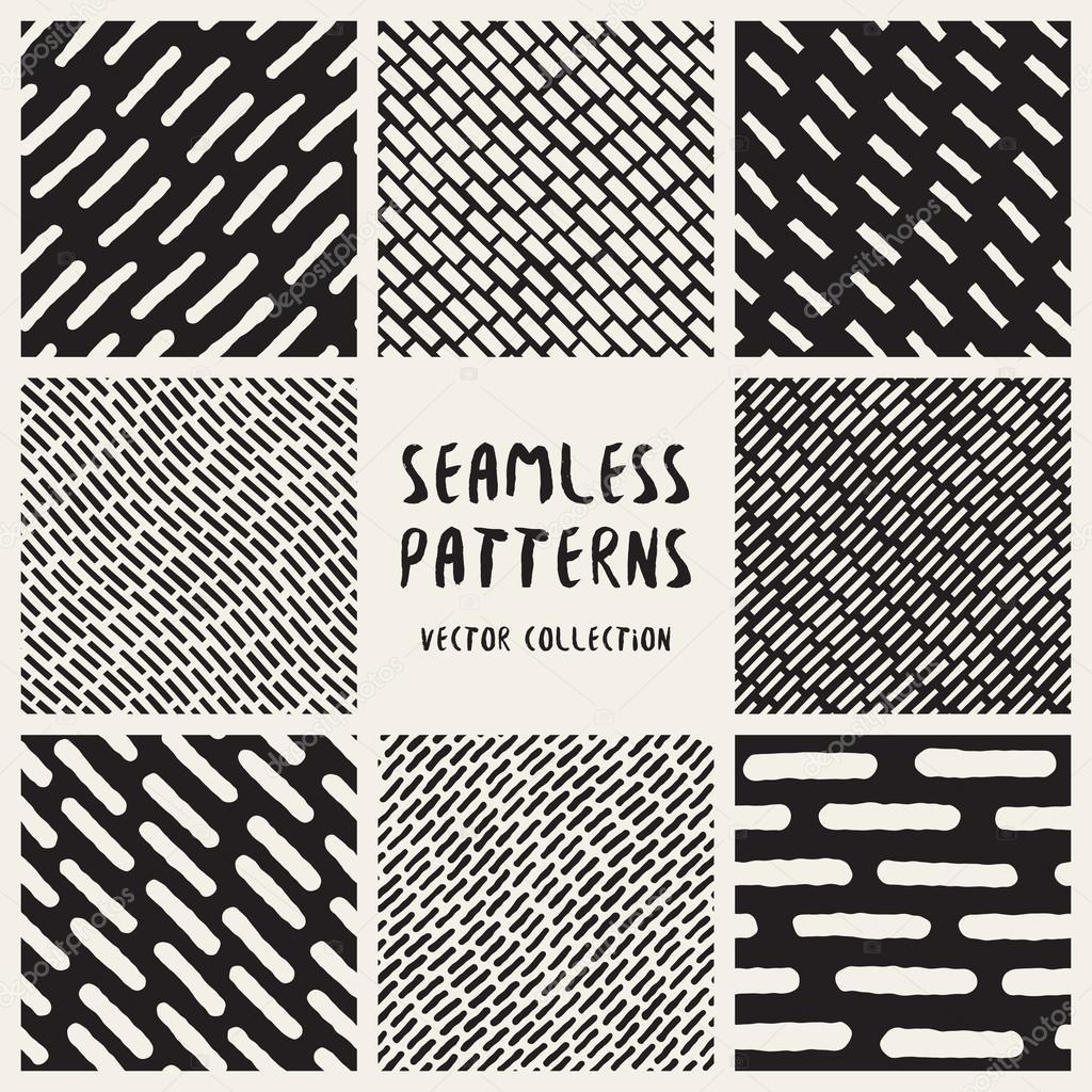 Conjunto de ocho patrones de líneas Vector dibujado a mano sin ...