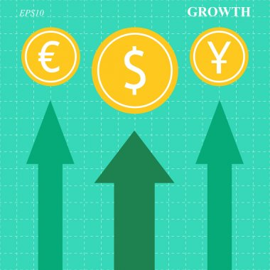 Currency growth arrows