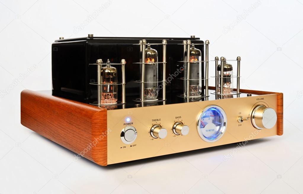 Retro Hi Fi stereo valve amp — Stock Photo © zvonce #119856536