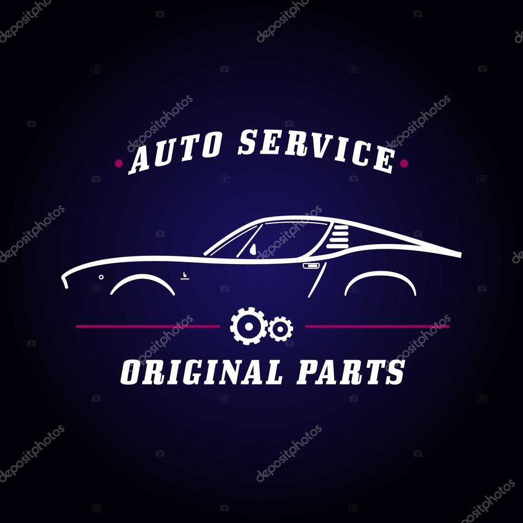 Insignia de auto servicio coche clásico — Vector de stock © Greens87 ...