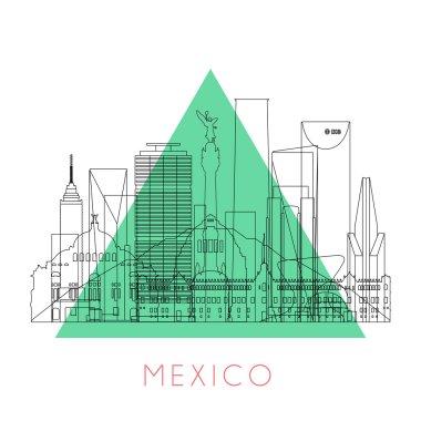 Outline Mexico skyline
