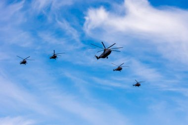 RUSSIA, MOSCOW - MAY 9, 2015: Helicopters Mi-26 and Mi-8. Parade in honor of Victory in the Great Patriotic War in Moscow.
