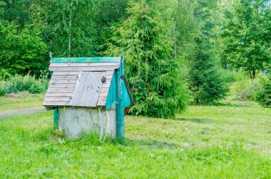 closed rustic wooden draw-well on forest background