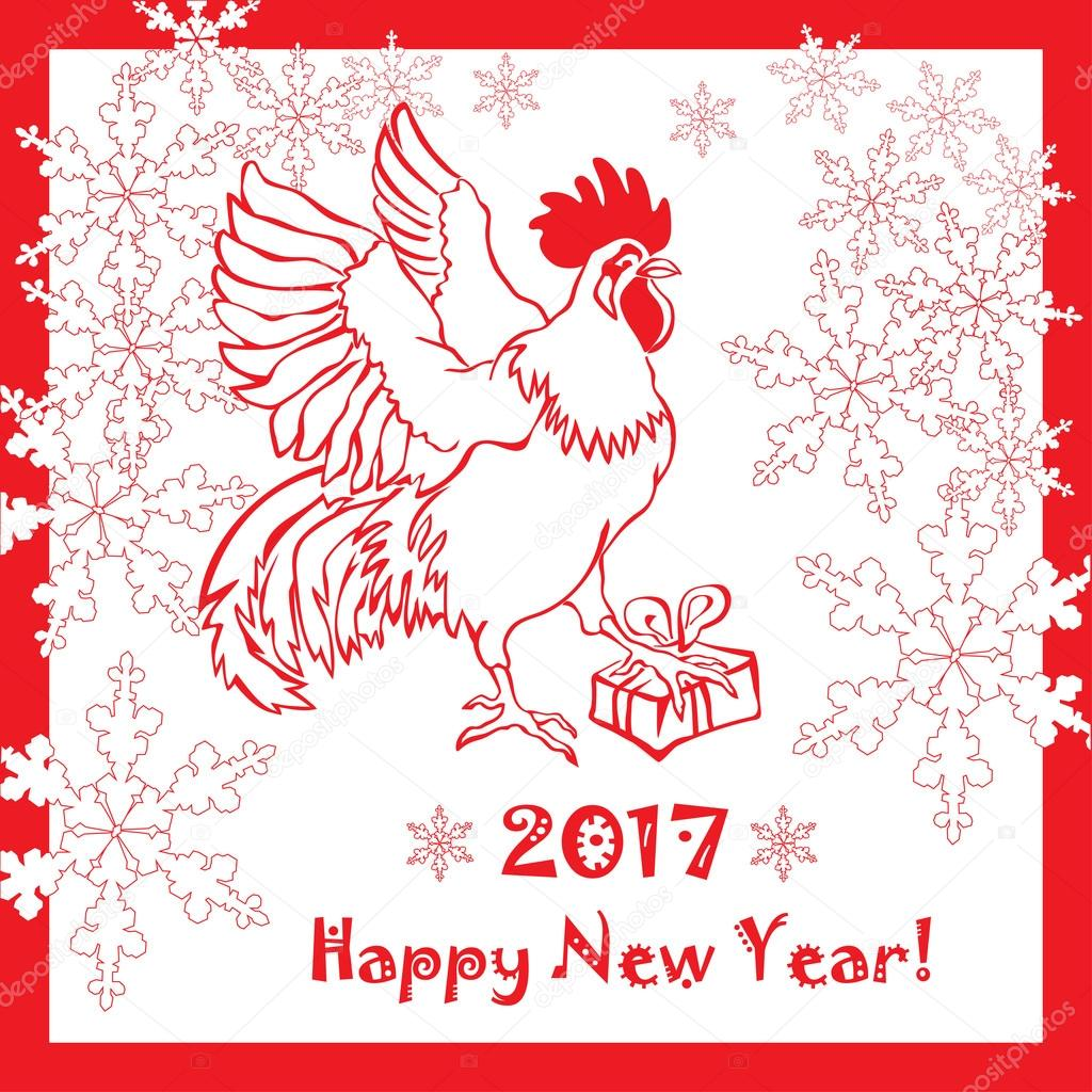 New year 2017 greeting pictures year of rooster happy chinese new year - 2017 Happy New Year Greeting Card Chinese New Year Of The Red Rooster Vector