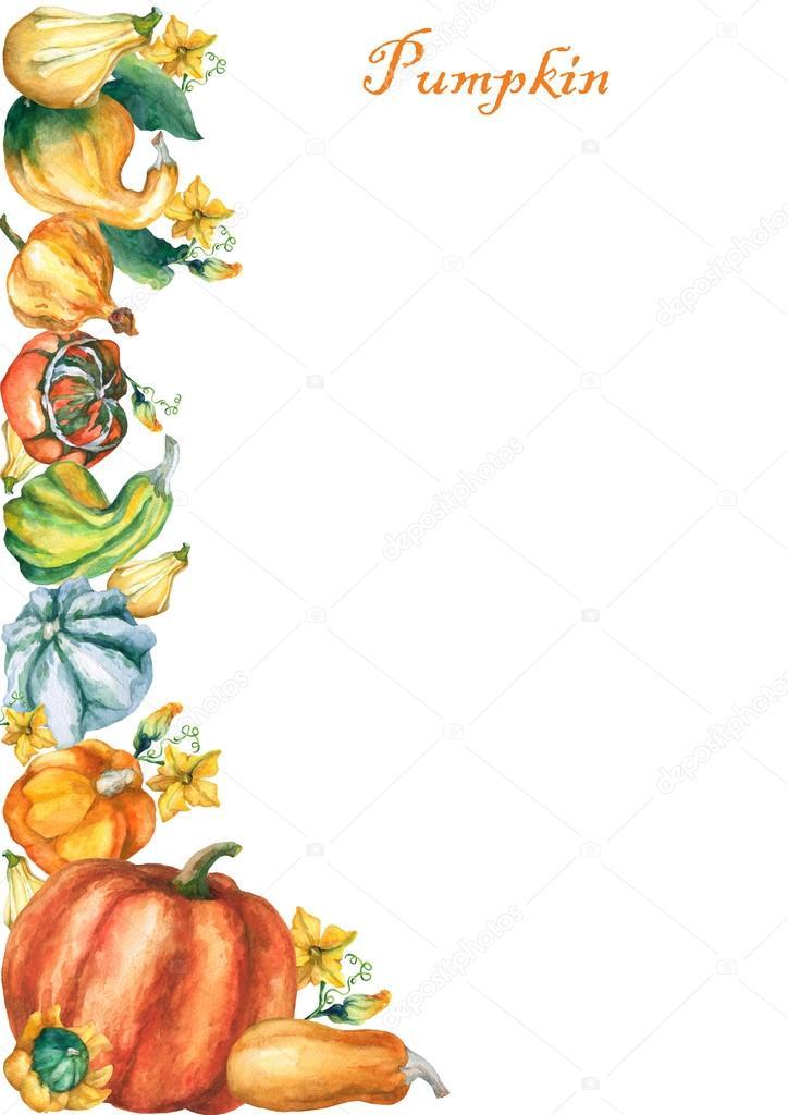 Plantilla con acuarela de calabazas decorativas sobre fondo blanco ...