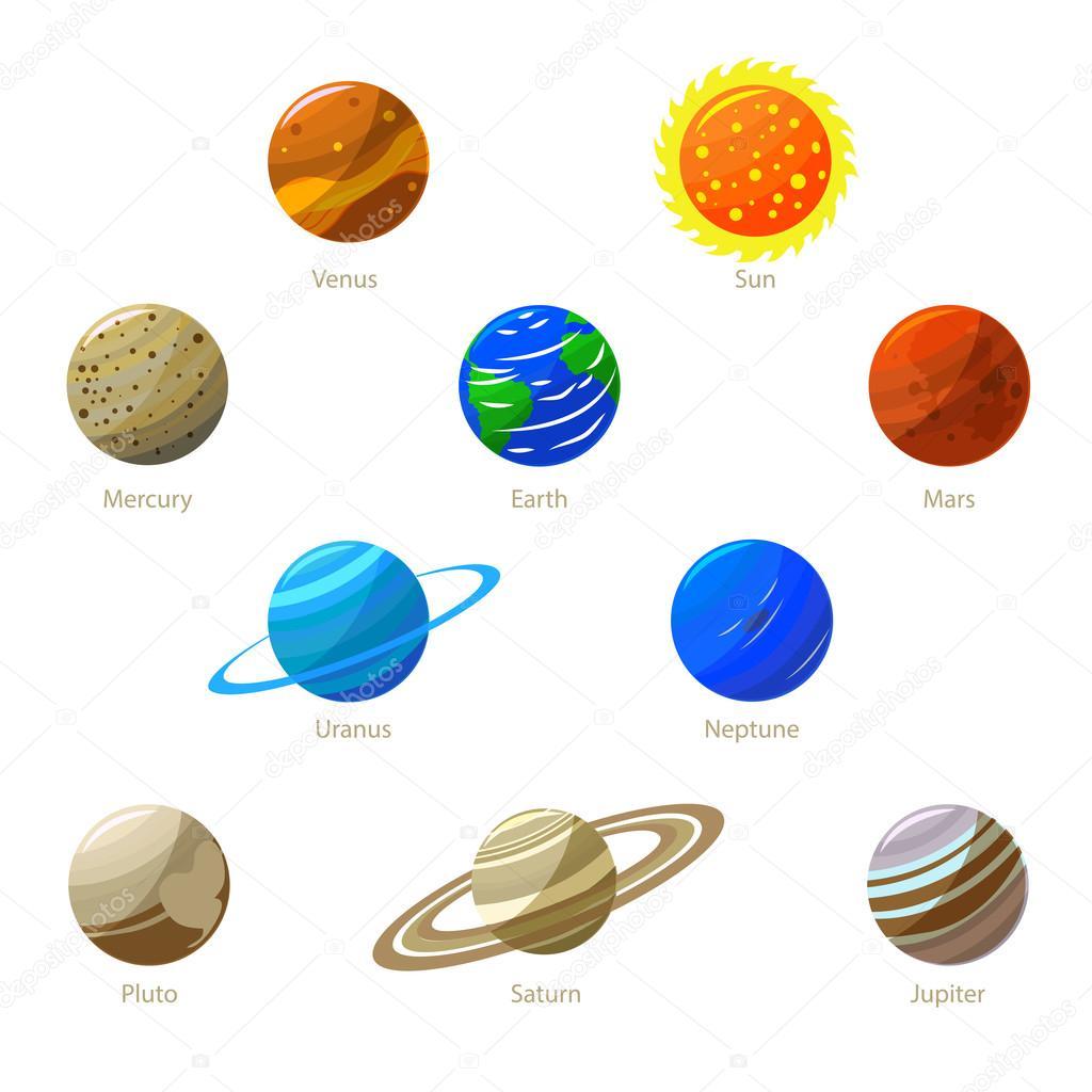 Planetas coloridos sistema Solar e o sol vetor — Vetor de Stock © bigmouse #120200960