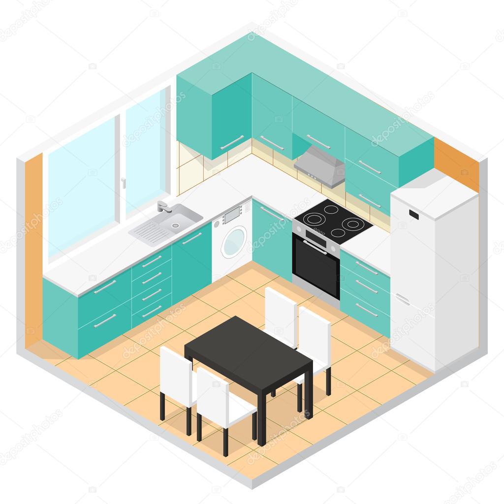 Isom trica de la cocina vector de vector de stock for Disegnare una stanza in 3d