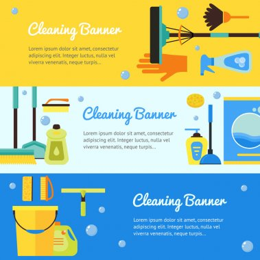 Cleaning Horizontal Banner Set. Vector