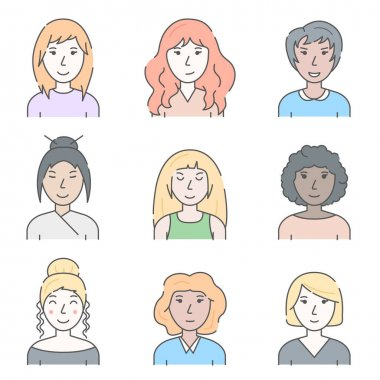 Color Character People Woman Concept Contour Linear Style. Vector illustration of Lineart Female Avatar icon