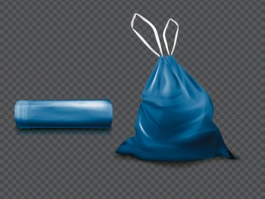 Realistic Detailed 3d Blue Plastic Bag Set on a Transparent Background Symbol of Garbage. Vector illustration icon