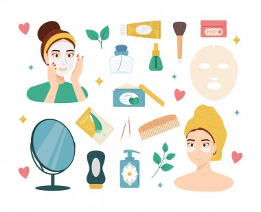Cartoon Color Beauty Routine Icon Set Concept Flat Design Style Include of Cosmetic Products. Vector illustration icon