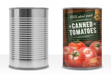 Realistic Detailed 3d Canned Tomato Puree with Label and Empty Template Mockup Can Pack Set. Vector illustration icon