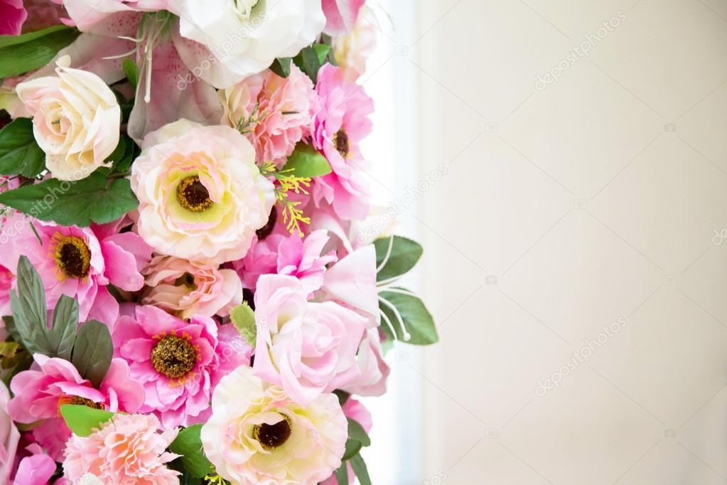 Flower wedding decoration pink and white colour on vintage ...