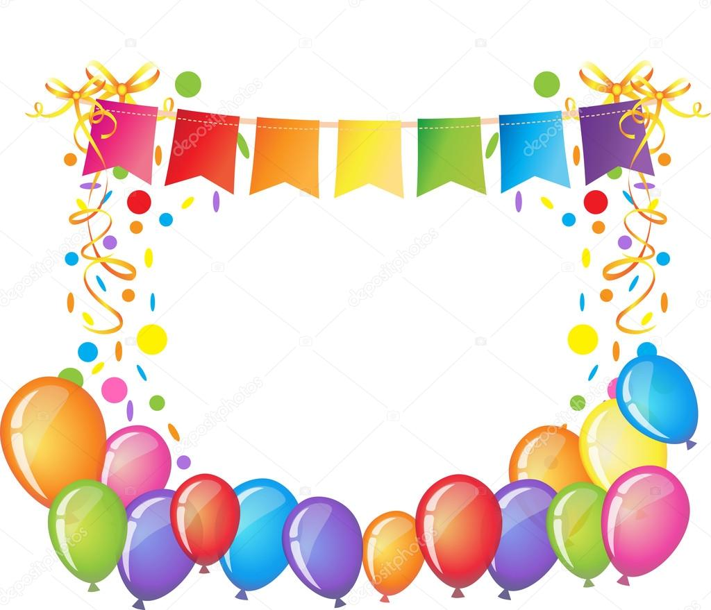 Celebration Background With Colorful Confetti Ribbons And