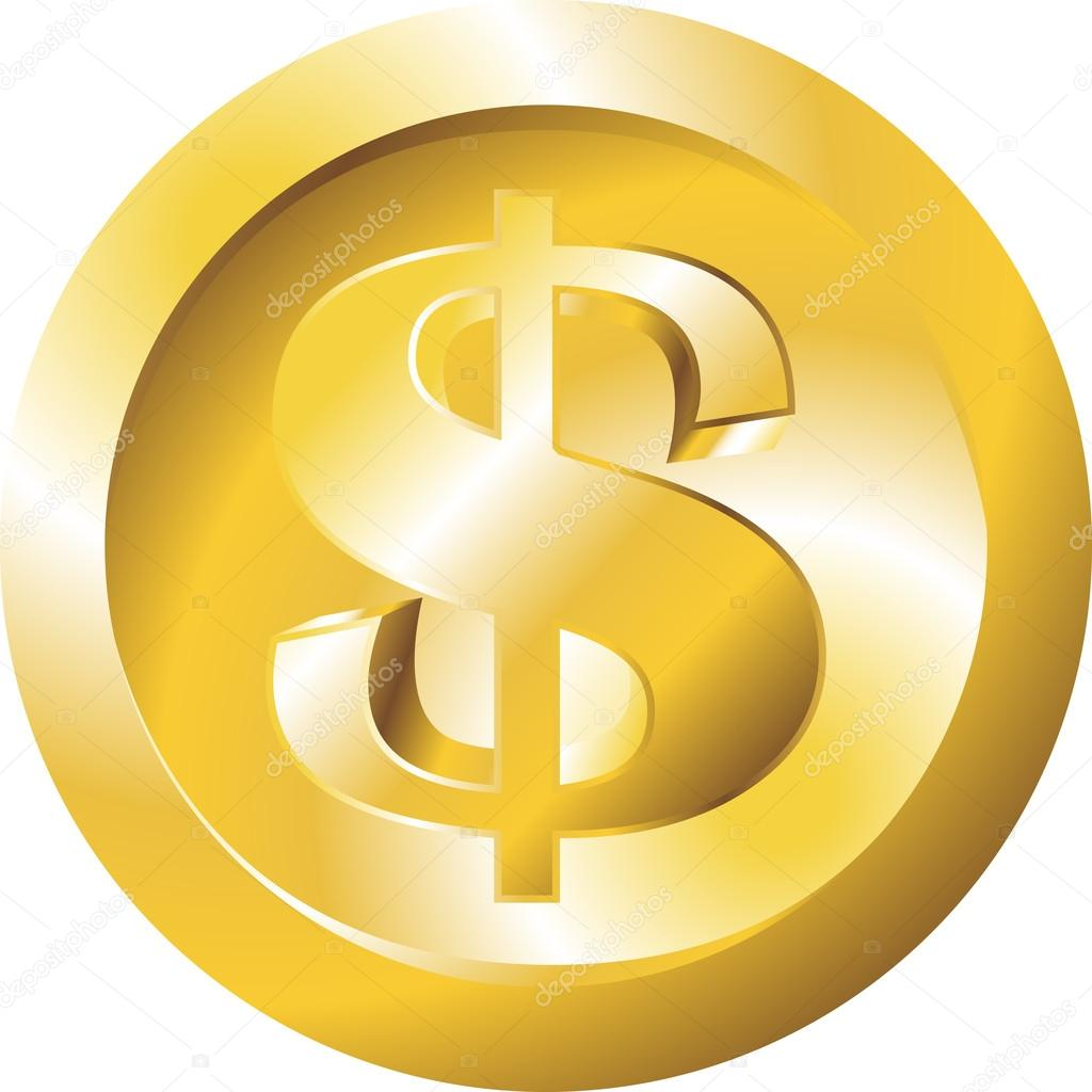 Money Flat Icon Gold Dollar Symbol Stack Of Coins Vector
