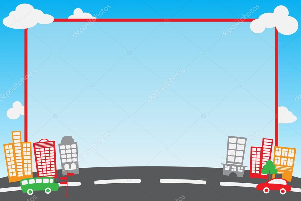 City Car Sky Frame And Template For Instant Photo Corner Or Photobooth Vector