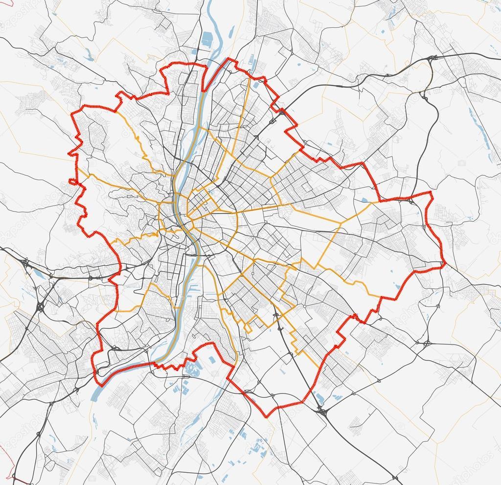 Map Of Budapest City Roads Stock Vector C 7viktor7 119355620