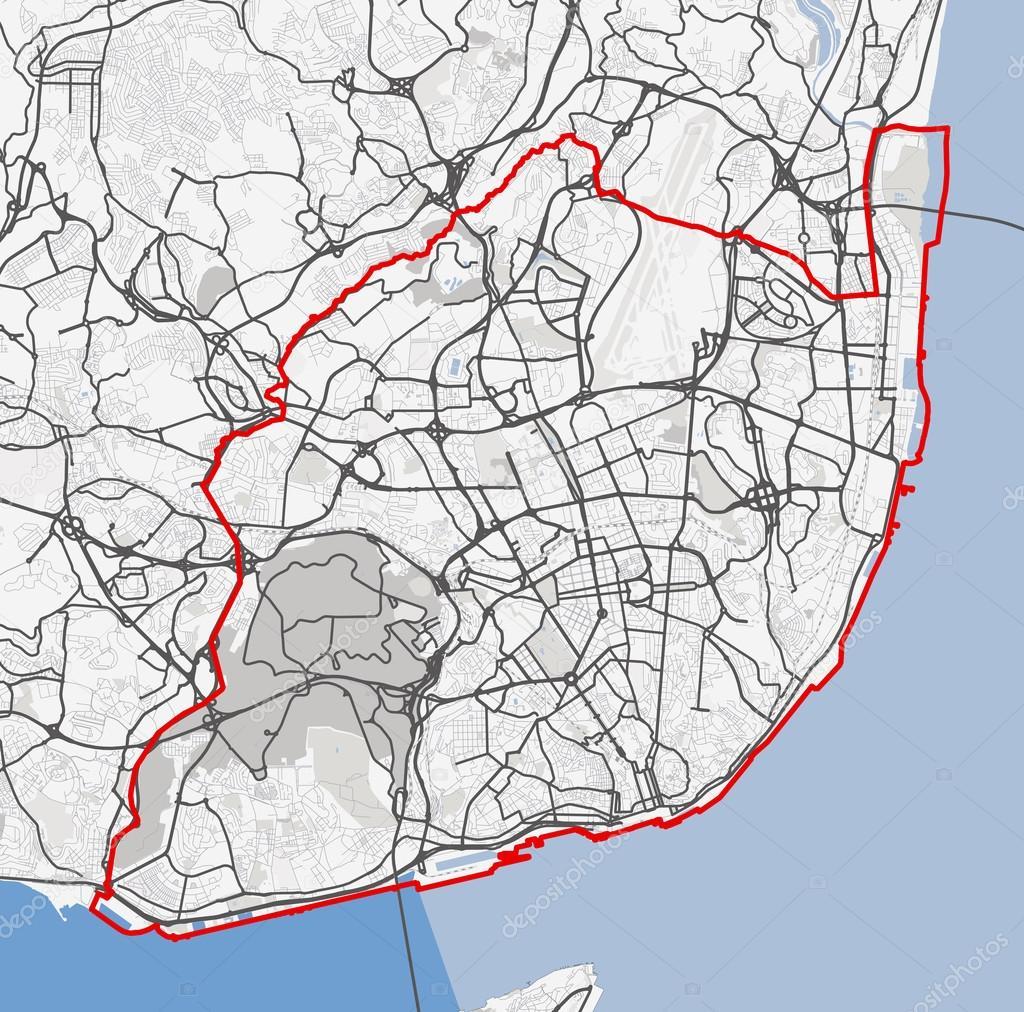 Map Of Lisbon City Roads Stock Vector C 7viktor7 119865680