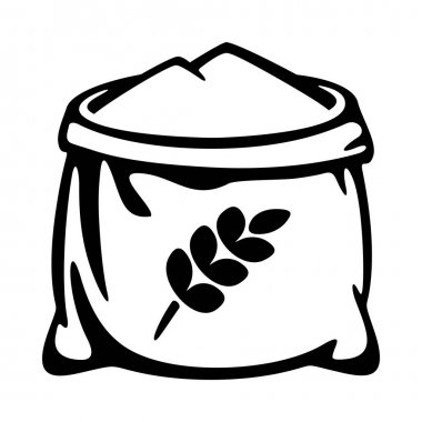 Sack of flour ears of wheat flat icon. Open bagful vector illustration icon