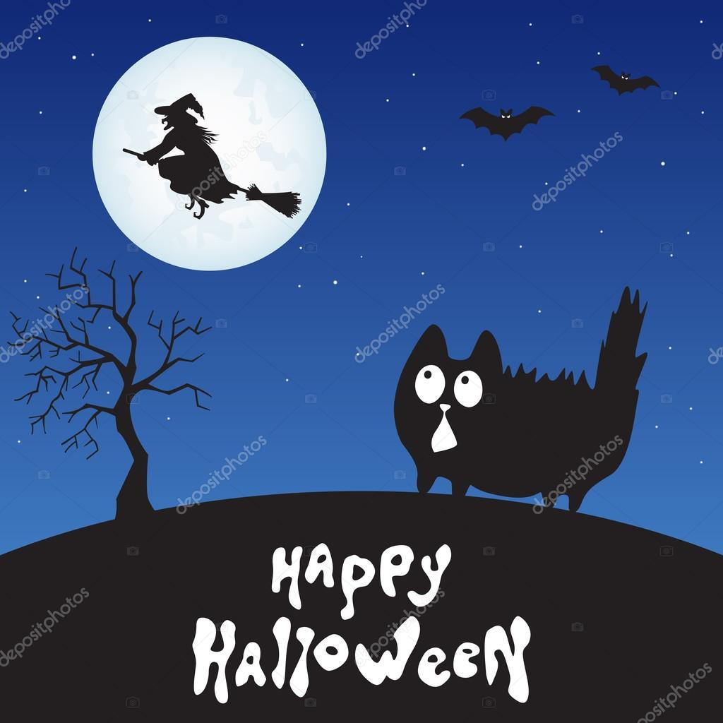 Happy Halloween Card With Cartoon Cat Witch And Moon Stock