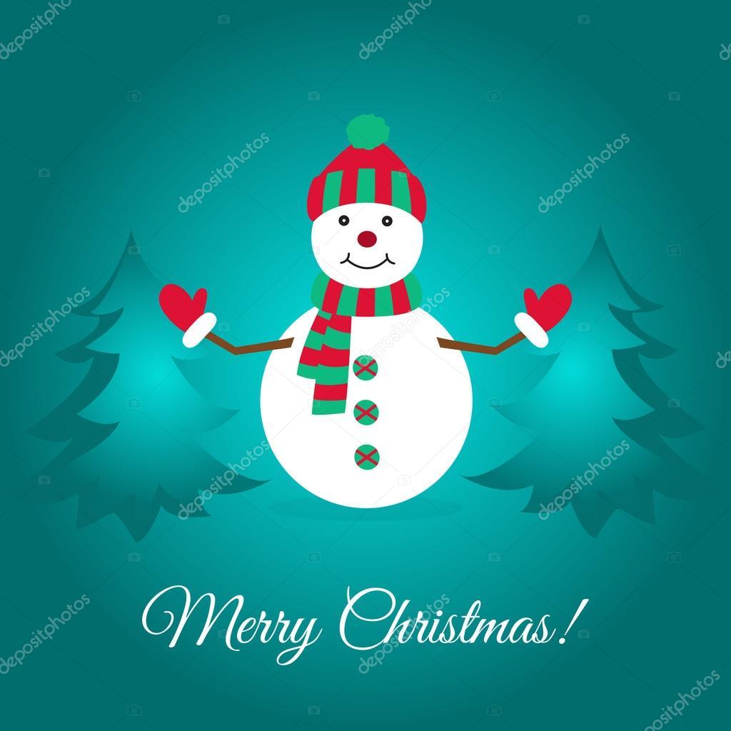 Lustige Weihnachtskarte mit niedlichen Schneemann und Fichten ...