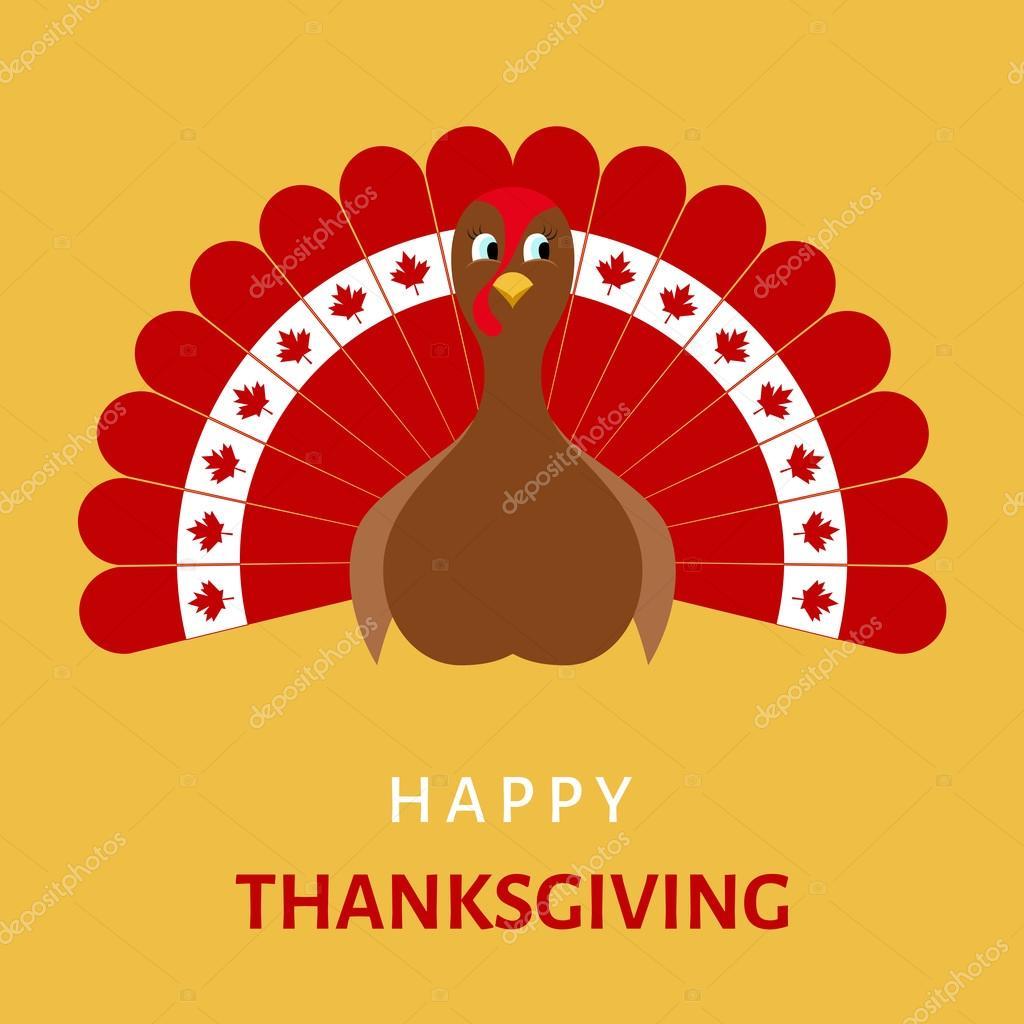 Happy Thanksgiving-Fest mit Cartoon Türkei Vogel — Stockvektor ...