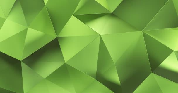3D zelená abstraktní geometrické mnohoúhelník povrchu pohybu pozadí smyčky 4k