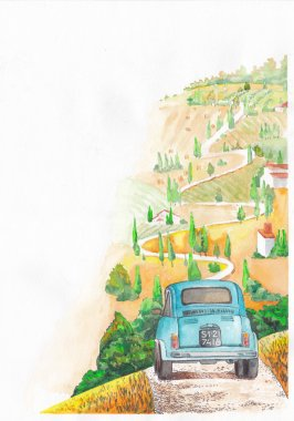 Vintage car rides on a winding road. Corner illustration for design. stock vector
