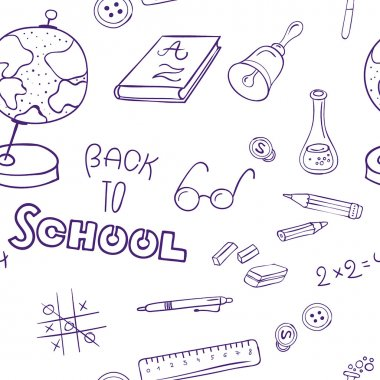 set hand drawn illustrations of school life and learning