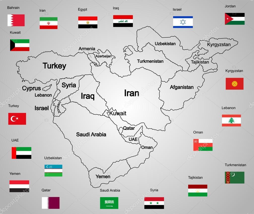 mellanöstern karta Mellanöstern vektor karta uppsättning av staterna och flaggor. hög  mellanöstern karta