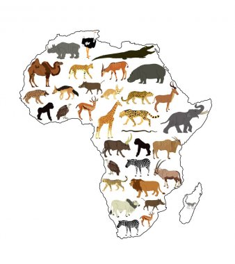Continent map of Africa vector contour illustration with wild animals. Travel invitation card for Africa nature. Savannah safari trip tourist attraction with giraffe, lion, elephant, rhino, hippo, zebra.