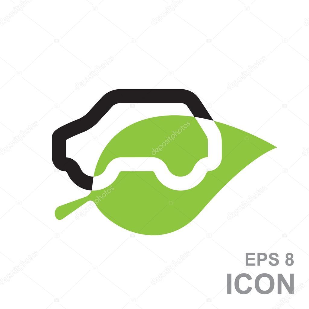 Eco coche Logo plantilla diseño Vector — Archivo Imágenes ...