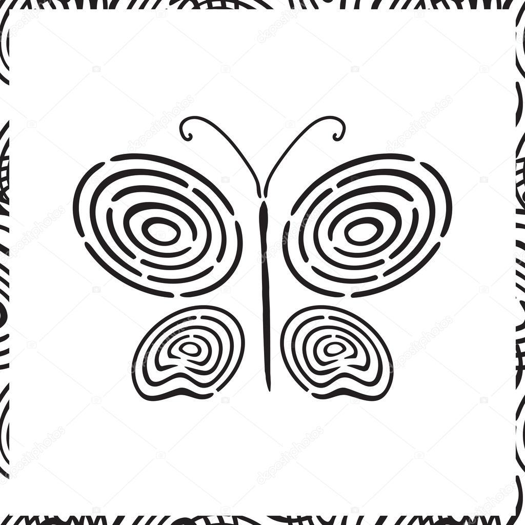 Fingerabdruck Hand Gezeichnete Schmetterling Stockvektor