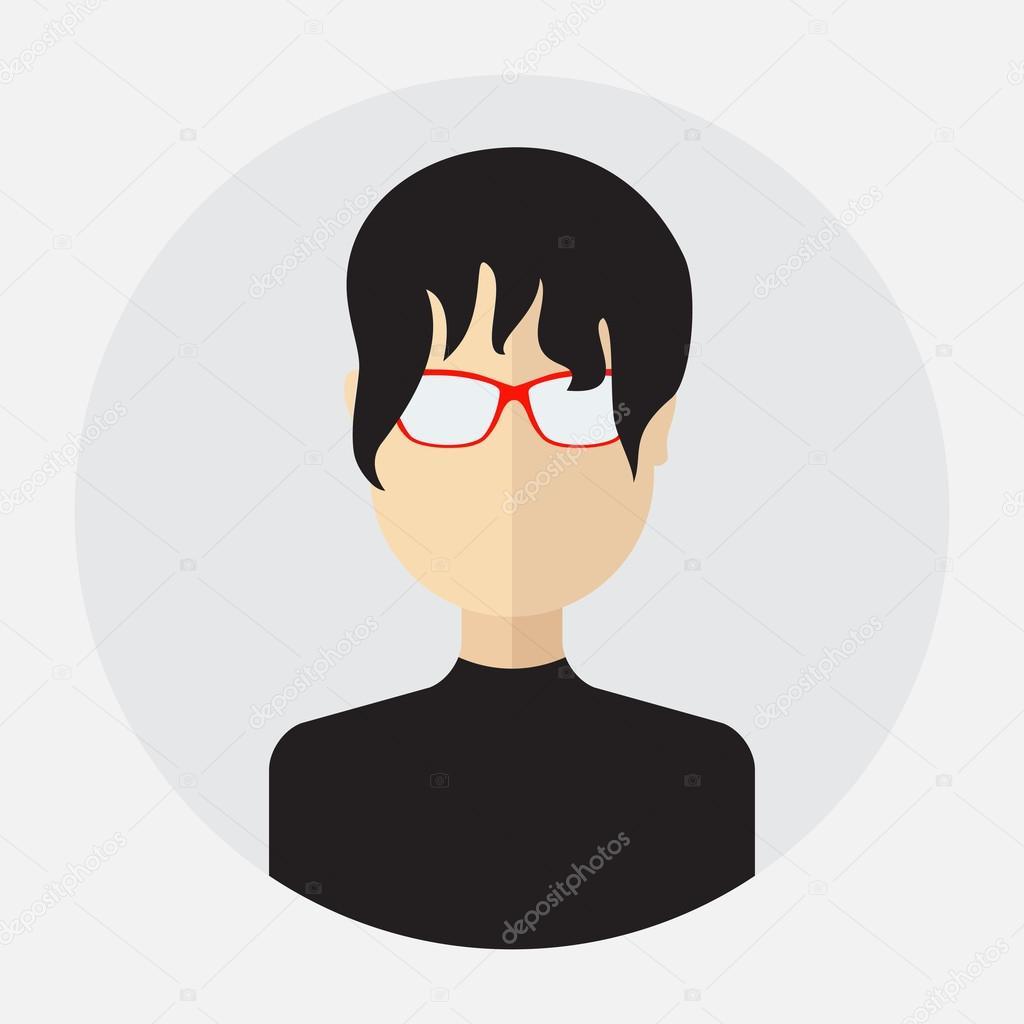 c3225b76b Avatar de rosto feminino, logotipo, modelo, pictograma, botão. Rodada da  moda ícone plana com mulheres de negócios, internet, projeto — Vetor de ...