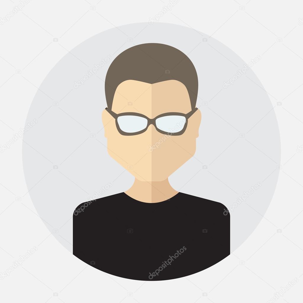32fa859a9 Avatar de rosto masculino, logotipo, modelo, pictograma, botão. Rodada da  moda ícone plana com homem de negócios, internet, projeto — Vetor de ...