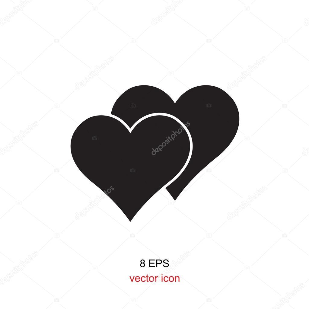Icono De Corazón Blanco Y Negro Archivo Imágenes Vectoriales