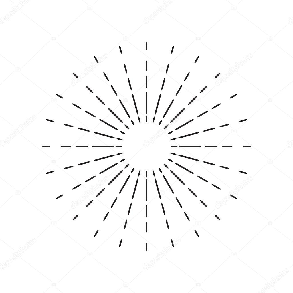 Line Drawing Sun Vector : Sun rays linear drawing star burst in vintage style and
