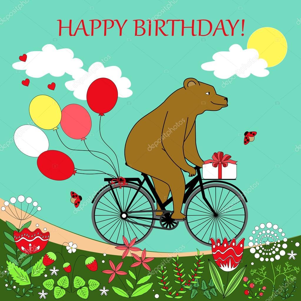 Bear Su Una Bicicletta Con Palloncini E Presenti Orso Felice Va A