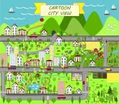 Fotografia Paesaggio urbano con case, mare, strade, alberi, giardini, automobili e periferia