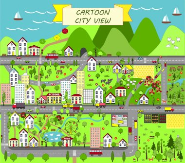 Urban landscape with houses, sea, roads, trees, gardens, cars, and suburbs.